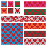 Knit yarn love set seamless pattern Royalty Free Stock Image