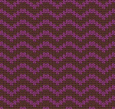 Knit yarn purple brown wave seamless pattern Stock Photo