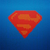 Knited superman icon Royalty Free Stock Photos