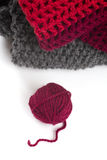 Knits and a ball of wool Royalty Free Stock Photos