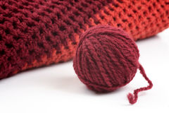 Knits and a ball of wool Royalty Free Stock Photo