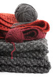 Knits and balls of wool Stock Photography