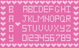 Knitted abc alphabet, knitting pattern, girl pink fabric backgro. Baby fabric script for girl. Cute knitted abc alphabet, knitting pattern, girl pink fabric vector illustration