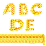 Knitted alphabet A_E Stock Images