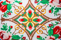 Knitted authentic ornament. On the pillow Royalty Free Stock Image