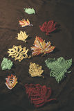 Knitted autumn leaves Stock Photography