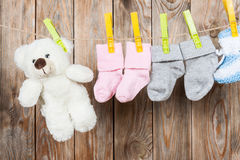 Knitted babies socks Stock Image
