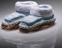 Knitted Baby Booties Royalty Free Stock Photo