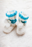 Knitted baby booties Royalty Free Stock Photography