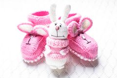 Knitted baby booties Royalty Free Stock Image