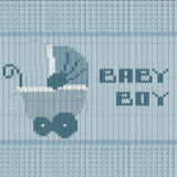 Knitted baby boy shower announcement card Stock Image