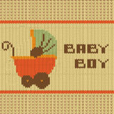 Knitted baby boy shower announcement card. Illustration in vector format Royalty Free Stock Photos
