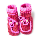 Knitted baby footwear Royalty Free Stock Photos