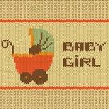 Knitted baby girl shower announcement card Royalty Free Stock Photography