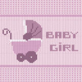 Knitted baby girl shower announcement card Stock Photography