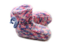 Knitted baby shoes Royalty Free Stock Image