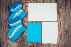 Knitted baby socks Royalty Free Stock Images