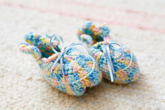 Knitted baby socks Stock Photography