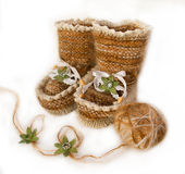 Knitted baby socks made from wool Royalty Free Stock Image