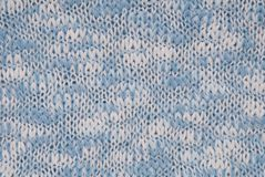Knitted background, blue and white colour, crocheted backdrop. Knitted background, light blue and white colour, melange crocheted backdrop Royalty Free Stock Image