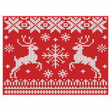 Knitted background with deers and snow Stock Photos