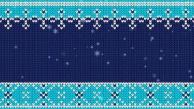 Knitted background and flying snowflakes. stock video footage