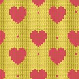 Knitted background with hearts Royalty Free Stock Photos