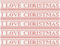 Knitted background i love christmas Royalty Free Stock Photos