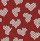 Knitted background with the image of hearts Stock Photography