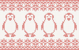 Knitted Background with penguins Royalty Free Stock Photo