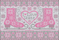 Knitted background with pink skates Stock Photography