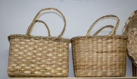 Knitted basket bag. Two side by side stock photo