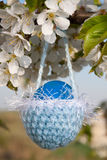Knitted basket for Easter Royalty Free Stock Images
