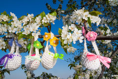 Knitted baskets for Easter Royalty Free Stock Image