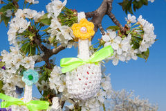 Knitted baskets for Easter Royalty Free Stock Photo
