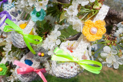 Knitted baskets for Easter Stock Image