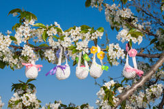Knitted baskets for Easter Royalty Free Stock Images