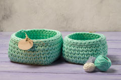 Knitted baskets Stock Photos