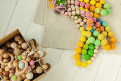Knitted beads necklaces Stock Photos