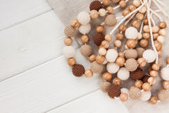 Knitted beads necklaces Royalty Free Stock Photo