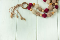 Knitted beads necklaces Royalty Free Stock Photos