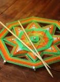 Knitted beautiful mandala. Shallow depth of field Royalty Free Stock Image