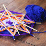 Knitted beautiful mandala. Shallow depth of field Royalty Free Stock Photos