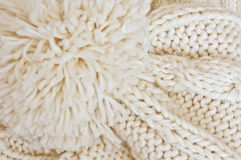 Knitted beige cap Royalty Free Stock Photos