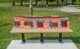 Knitted bench Royalty Free Stock Photography
