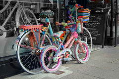 Knitted bicycles Stock Image
