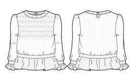 Knitted blouse with extensive decoration. Front and back view of knitted blouse with extensive decoration royalty free illustration