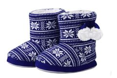 Knitted blue boots isolated on white background royalty free stock photo