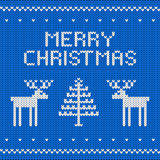 Knitted blue Christmas background Royalty Free Stock Photography