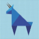 Knitted blue goat, the symbol of the new year of the goat Stock Images